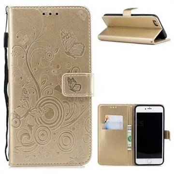 Intricate Embossing Butterfly Circle Leather Wallet Case for iPhone 6s Plus / 6 Plus 6P(5.5 inch) - Champagne