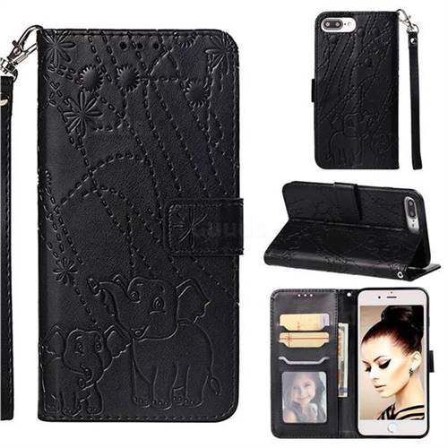 Embossing Fireworks Elephant Leather Wallet Case for iPhone 6s Plus / 6 Plus 6P(5.5 inch) - Black