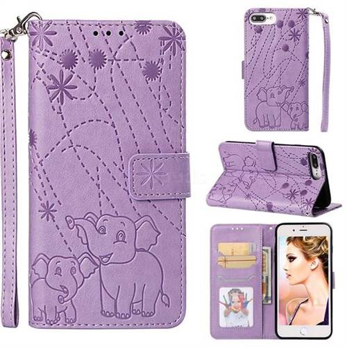 Embossing Fireworks Elephant Leather Wallet Case for iPhone 6s Plus / 6 Plus 6P(5.5 inch) - Purple
