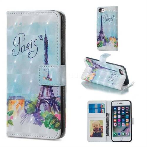 Paris Tower 3D Painted Leather Phone Wallet Case for iPhone 6s Plus / 6 Plus 6P(5.5 inch)