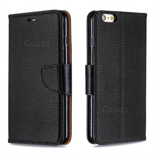 Classic Luxury Litchi Leather Phone Wallet Case for iPhone 6s Plus / 6 Plus 6P(5.5 inch) - Black
