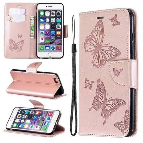Embossing Double Butterfly Leather Wallet Case for iPhone 6s Plus / 6 Plus 6P(5.5 inch) - Rose Gold