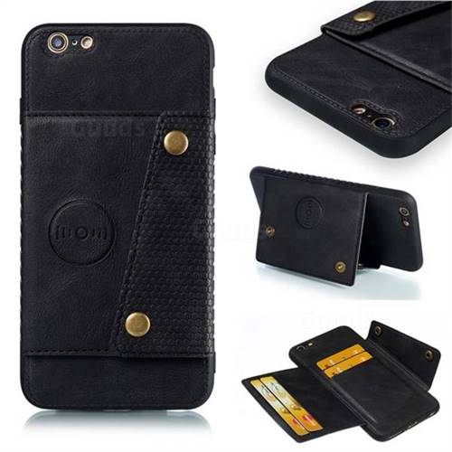 Retro Multifunction Card Slots Stand Leather Coated Phone Back Cover for iPhone 6s Plus / 6 Plus 6P(5.5 inch) - Black