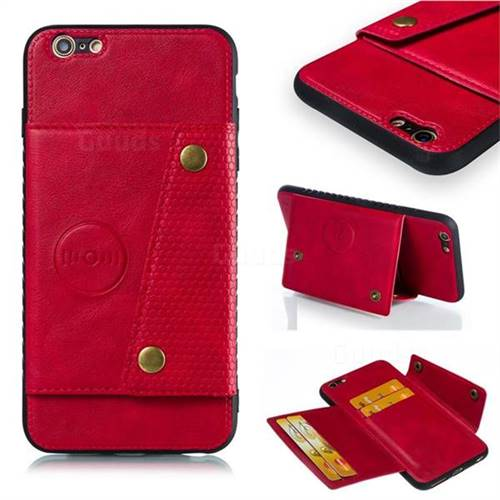Retro Multifunction Card Slots Stand Leather Coated Phone Back Cover for iPhone 6s Plus / 6 Plus 6P(5.5 inch) - Red