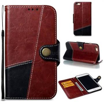 Retro Magnetic Stitching Wallet Flip Cover for iPhone 6s Plus / 6 Plus 6P(5.5 inch) - Dark Red