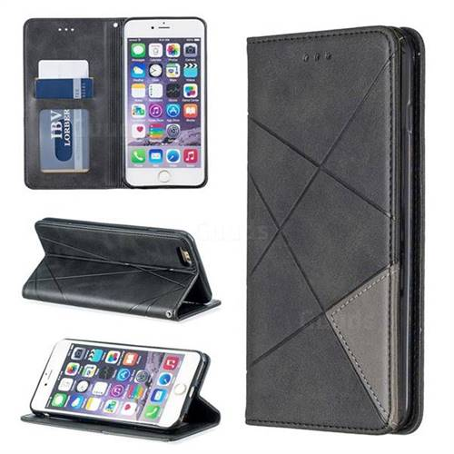 Prismatic Slim Magnetic Sucking Stitching Wallet Flip Cover for iPhone 6s Plus / 6 Plus 6P(5.5 inch) - Black