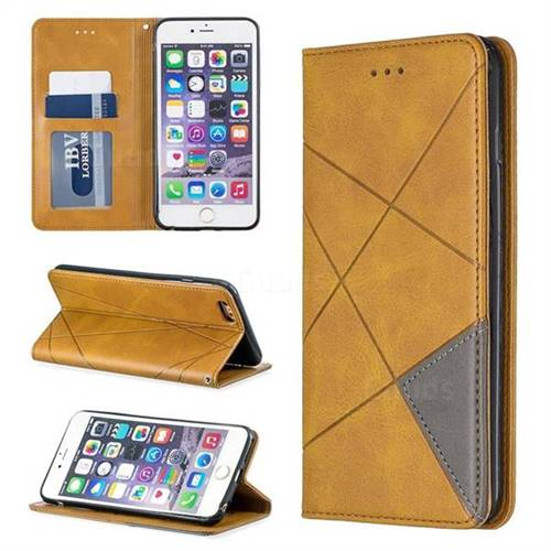 Prismatic Slim Magnetic Sucking Stitching Wallet Flip Cover for iPhone 6s Plus / 6 Plus 6P(5.5 inch) - Yellow