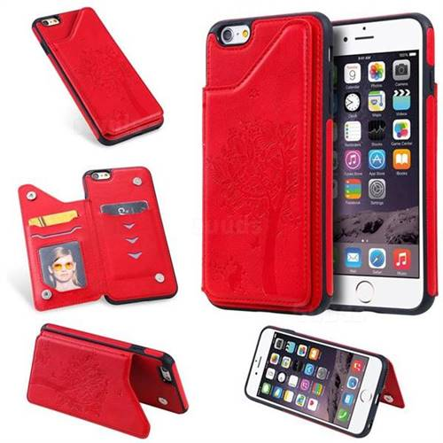Luxury Tree and Cat Multifunction Magnetic Card Slots Stand Leather Phone Back Cover for iPhone 6s Plus / 6 Plus 6P(5.5 inch) - Red