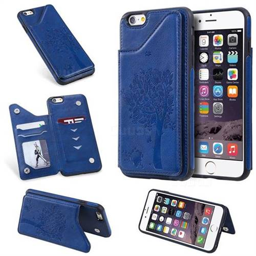 Luxury Tree and Cat Multifunction Magnetic Card Slots Stand Leather Phone Back Cover for iPhone 6s Plus / 6 Plus 6P(5.5 inch) - Blue