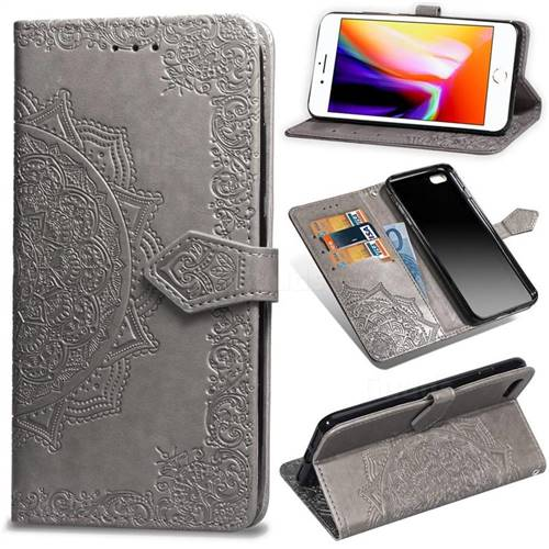 Embossing Imprint Mandala Flower Leather Wallet Case for iPhone 6s Plus / 6 Plus 6P(5.5 inch) - Gray