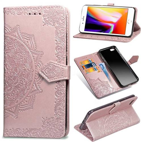 Embossing Imprint Mandala Flower Leather Wallet Case for iPhone 6s Plus / 6 Plus 6P(5.5 inch) - Rose Gold