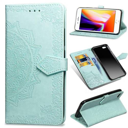 Embossing Imprint Mandala Flower Leather Wallet Case for iPhone 6s Plus / 6 Plus 6P(5.5 inch) - Green