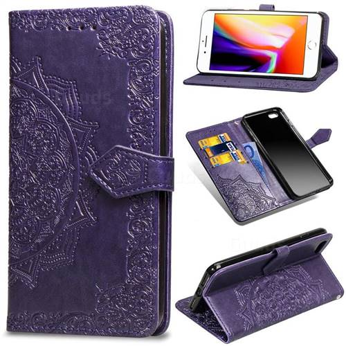 Embossing Imprint Mandala Flower Leather Wallet Case for iPhone 6s Plus / 6 Plus 6P(5.5 inch) - Purple