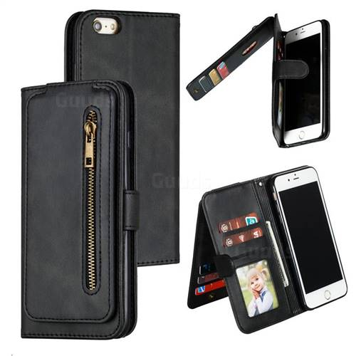 Multifunction 9 Cards Leather Zipper Wallet Phone Case for iPhone 6s Plus / 6 Plus 6P(5.5 inch) - Black