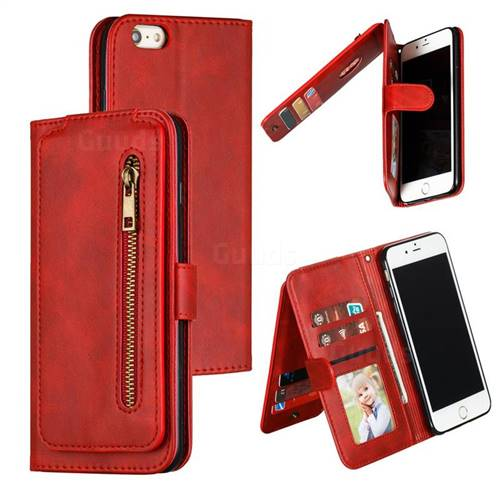 Multifunction 9 Cards Leather Zipper Wallet Phone Case for iPhone 6s Plus / 6 Plus 6P(5.5 inch) - Red