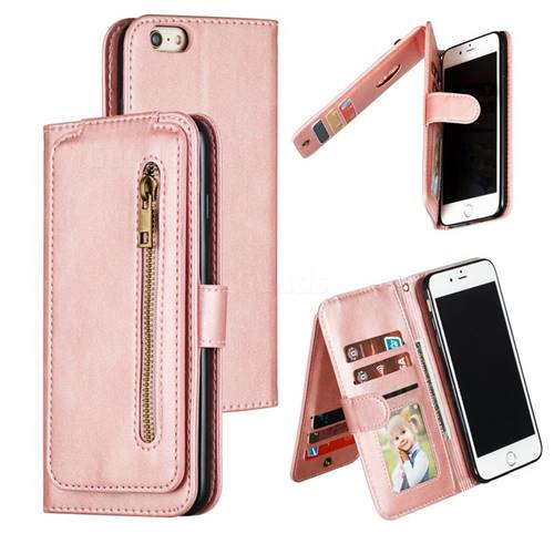 Multifunction 9 Cards Leather Zipper Wallet Phone Case for iPhone 6s Plus / 6 Plus 6P(5.5 inch) - Rose Gold