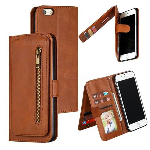 Multifunction 9 Cards Leather Zipper Wallet Phone Case for iPhone 6s Plus / 6 Plus 6P(5.5 inch) - Brown