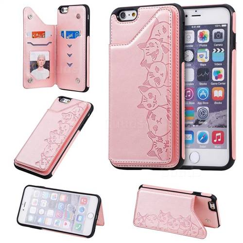 Yikatu Luxury Cute Cats Multifunction Magnetic Card Slots Stand Leather Back Cover for iPhone 6s Plus / 6 Plus 6P(5.5 inch) - Rose Gold