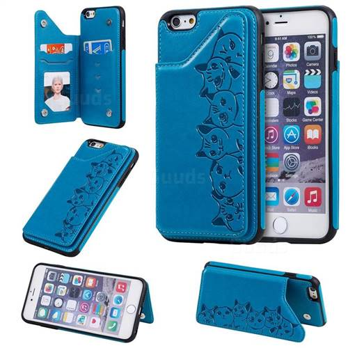 Yikatu Luxury Cute Cats Multifunction Magnetic Card Slots Stand Leather Back Cover for iPhone 6s Plus / 6 Plus 6P(5.5 inch) - Blue