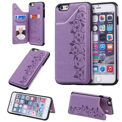 Yikatu Luxury Cute Cats Multifunction Magnetic Card Slots Stand Leather Back Cover for iPhone 6s Plus / 6 Plus 6P(5.5 inch) - Purple