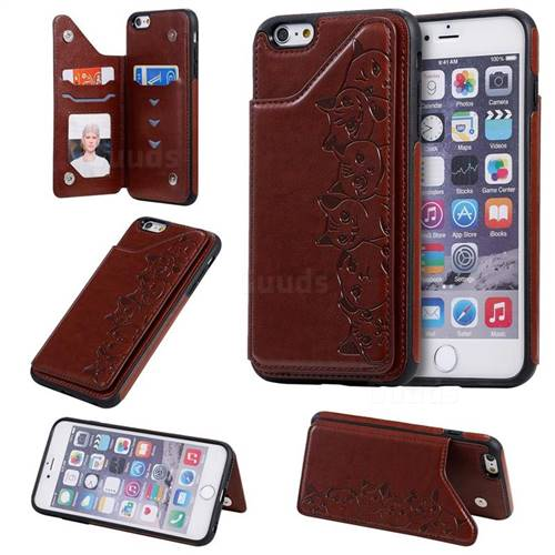 Yikatu Luxury Cute Cats Multifunction Magnetic Card Slots Stand Leather Back Cover for iPhone 6s Plus / 6 Plus 6P(5.5 inch) - Brown