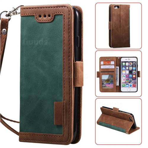 Luxury Retro Stitching Leather Wallet Phone Case for iPhone 6s Plus / 6 Plus 6P(5.5 inch) - Dark Green