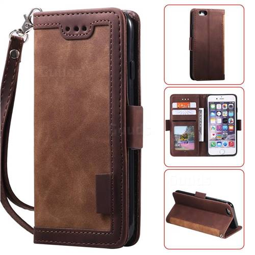 Luxury Retro Stitching Leather Wallet Phone Case for iPhone 6s Plus / 6 Plus 6P(5.5 inch) - Dark Brown