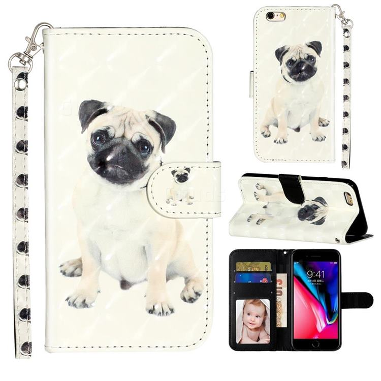 Pug Dog 3D Leather Phone Holster Wallet Case for iPhone 6s Plus / 6 Plus 6P(5.5 inch)