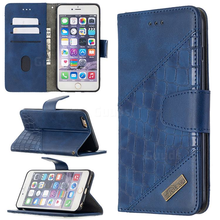 BinfenColor BF04 Color Block Stitching Crocodile Leather Case Cover for iPhone 6s Plus / 6 Plus 6P(5.5 inch) - Blue
