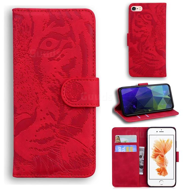 Intricate Embossing Tiger Face Leather Wallet Case for iPhone 6s Plus / 6 Plus 6P(5.5 inch) - Red