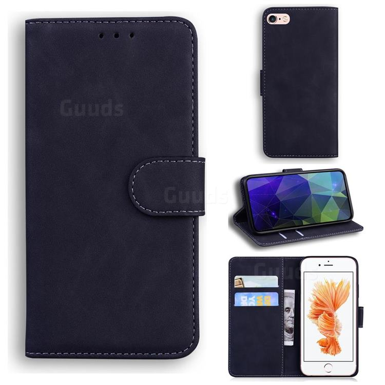 Retro Classic Skin Feel Leather Wallet Phone Case for iPhone 6s Plus / 6 Plus 6P(5.5 inch) - Black