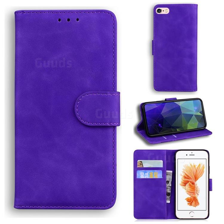 Retro Classic Skin Feel Leather Wallet Phone Case for iPhone 6s Plus / 6 Plus 6P(5.5 inch) - Purple