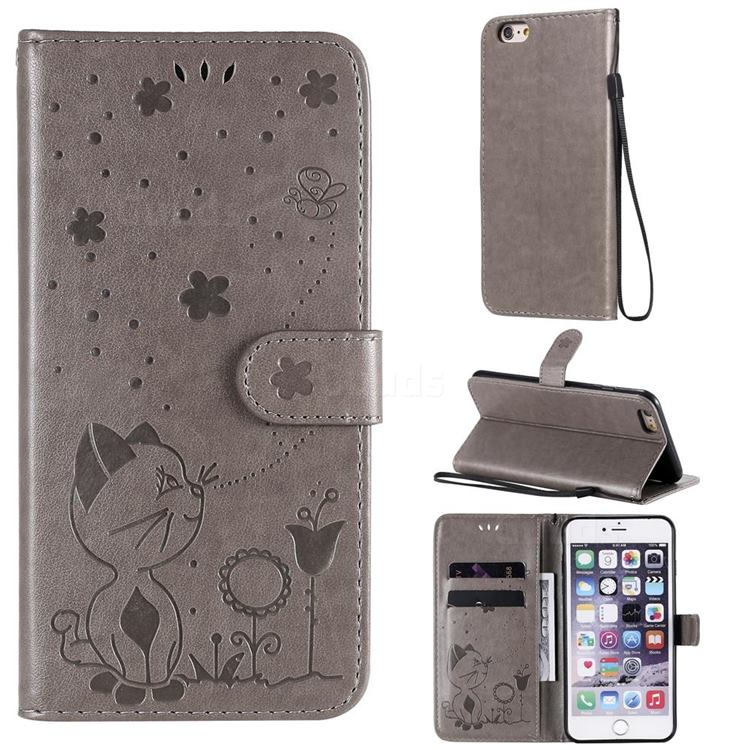 Embossing Bee and Cat Leather Wallet Case for iPhone 6s Plus / 6 Plus 6P(5.5 inch) - Gray