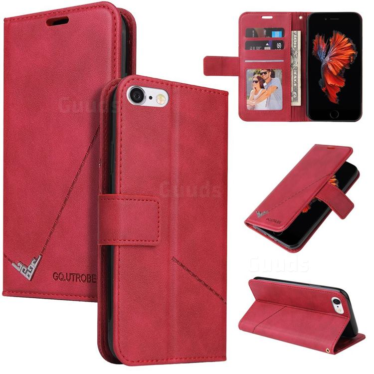 GQ.UTROBE Right Angle Silver Pendant Leather Wallet Phone Case for iPhone 6s Plus / 6 Plus 6P(5.5 inch) - Red