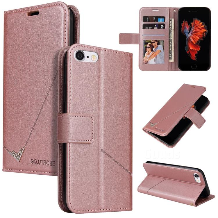 GQ.UTROBE Right Angle Silver Pendant Leather Wallet Phone Case for iPhone 6s Plus / 6 Plus 6P(5.5 inch) - Rose Gold