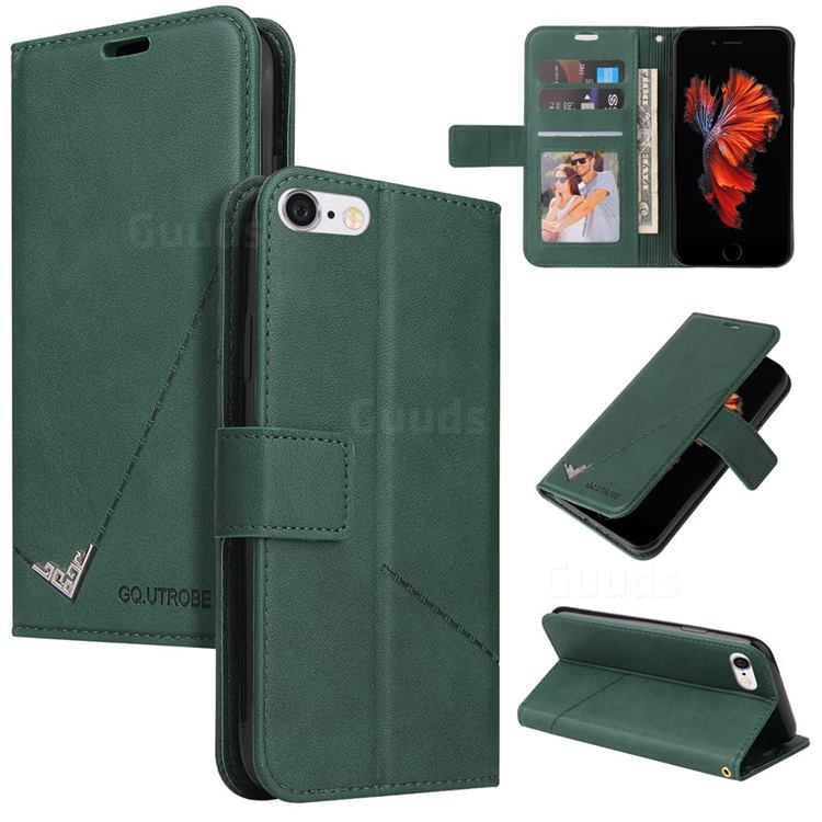 GQ.UTROBE Right Angle Silver Pendant Leather Wallet Phone Case for iPhone 6s Plus / 6 Plus 6P(5.5 inch) - Green