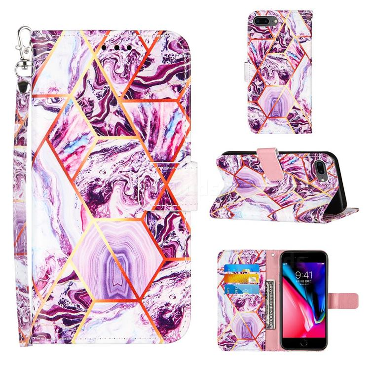 Dream Purple Stitching Color Marble Leather Wallet Case for iPhone 6s Plus / 6 Plus 6P(5.5 inch)