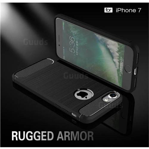 Luxury Carbon Fiber Brushed Wire Drawing Silicone TPU Back Cover for iPhone 8 / 7 8G 7G(4.7 inch) (Black)