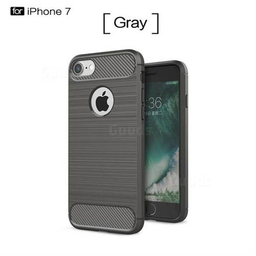Luxury Carbon Fiber Brushed Wire Drawing Silicone TPU Back Cover for iPhone 8 / 7 8G 7G(4.7 inch) (Gray)
