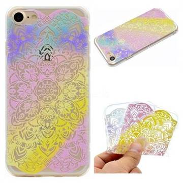 Mandala Rainbow Flower Super Clear Soft TPU Back Cover for iPhone 8 / 7 (4.7 inch)