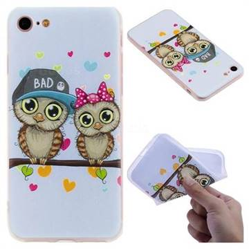 Couple Owls 3D Relief Matte Soft TPU Back Cover for iPhone 8 / 7 (4.7 inch)