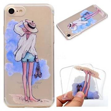 Beach Girl Super Clear Soft TPU Back Cover for iPhone 8 / 7 (4.7 inch)