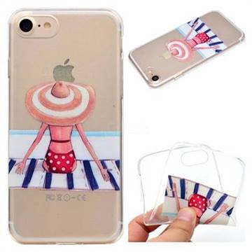 Beach Chair Girl Super Clear Soft TPU Back Cover for iPhone 8 / 7 (4.7 inch)