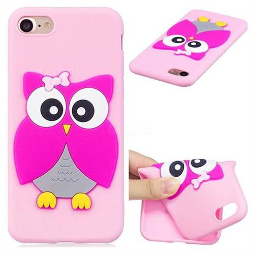 Pink Owl Soft 3D Silicone Case for iPhone 8 / 7 (4.7 inch)