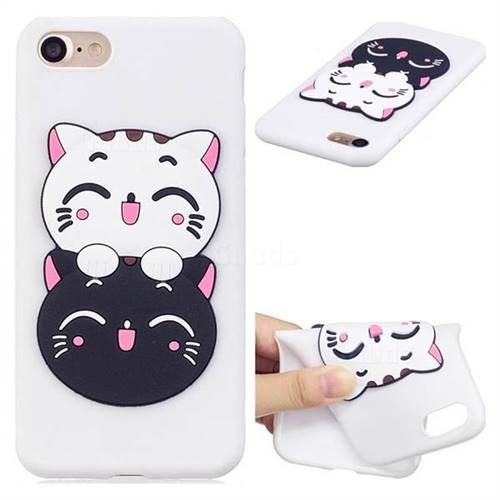 Couple Cats Soft 3D Silicone Case for iPhone 8 / 7 (4.7 inch)