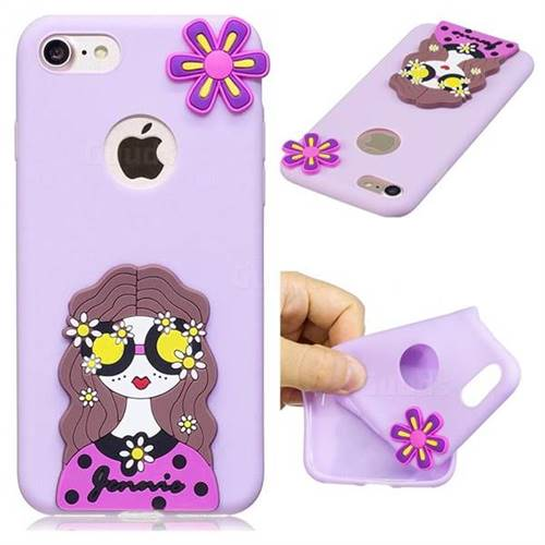 Violet Girl Soft 3D Silicone Case for iPhone 8 / 7 (4.7 inch)