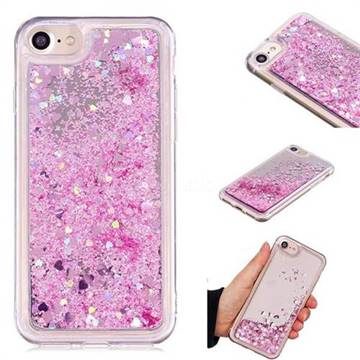 Glitter Sand Mirror Quicksand Dynamic Liquid Star TPU Case for iPhone 8 / 7 (4.7 inch) - Cherry Pink