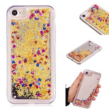 Glitter Sand Mirror Quicksand Dynamic Liquid Star TPU Case for iPhone 8 / 7 (4.7 inch) - Yellow