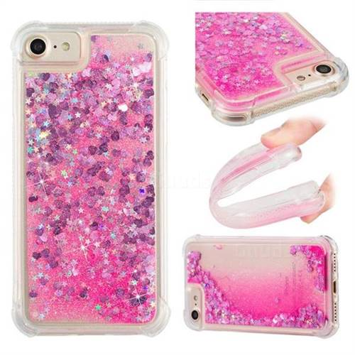 Dynamic Liquid Glitter Sand Quicksand TPU Case for iPhone 8 / 7 (4.7 inch) - Pink Love Heart