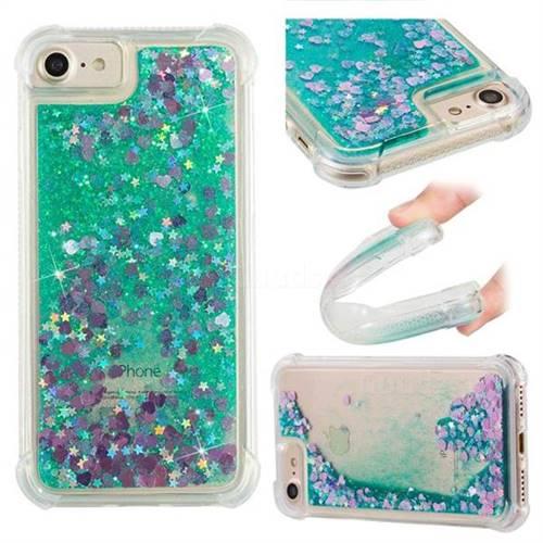 Dynamic Liquid Glitter Sand Quicksand TPU Case for iPhone 8 / 7 (4.7 inch) - Green Love Heart